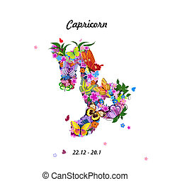 Pattern with butterflies, cute zodiac sign - capricorn