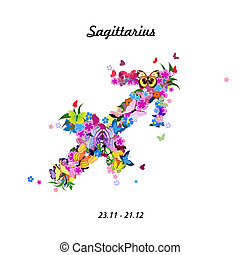 Pattern with butterflies, cute zodiac sign - saqittarius