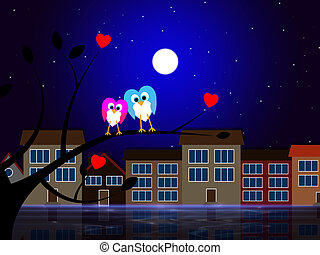 Moon Owls Represents Night Time And Apartment - Moon Houses...