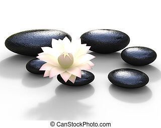 Spa Stones Represents Bloom Peaceful And Spirituality - Spa...