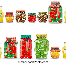 seamless border with preserve food