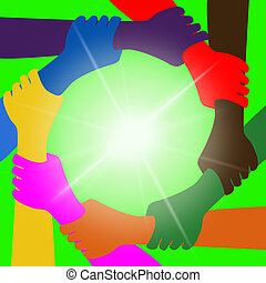 meios, globalização, Globalmente, unidade, segurando, mãos