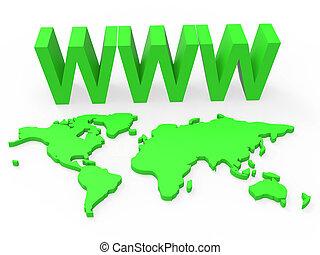 World Www Indicates Globalise Worldwide And Globalization -...