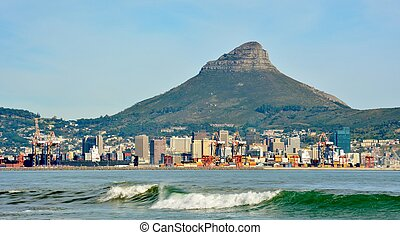 Cape Town Skyline - Seascape with the Cape Town Skyline and...