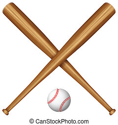 wooden baseball bat and ball - Baseball bats and ball on a...