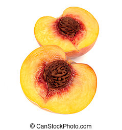 Two Halves of Peach Isolated on White Background - Two...