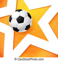 Soccer football poster Bright orange background, white star...