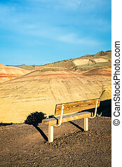 Bench Overlooking the Painted Hills in Eastern Oregon