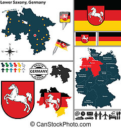 Map of Lower Saxony, Germany - Vector map of state Lower...