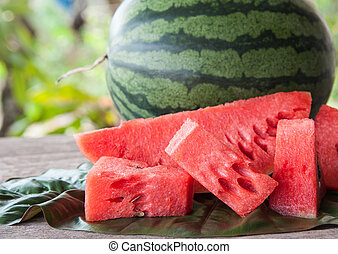 water melon - Sliced watermelon pieces