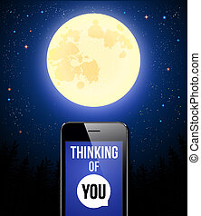 Thinking of You. Romantic poster with night scene, full moon and