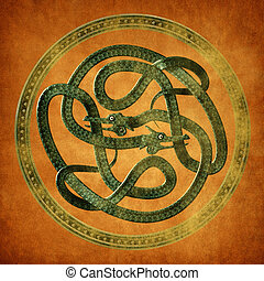 Serpent Celtic Knot - Green Serpent Celtic Knot on an old...