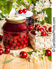 Jars of  fruit preserves