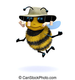 3d Australian honey bee - 3d render of a honey bee wearing...