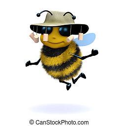 3d Australian honey bee - 3d render of a honey bee wearing...