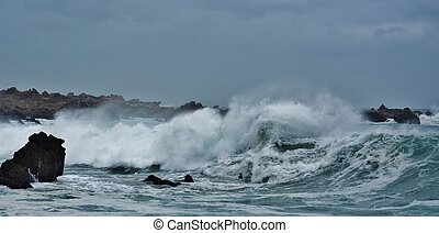 Stormy Weather - Seascape with stormy Weather and big waves