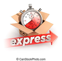 3d express delivery concept, isolated white background, 3d...