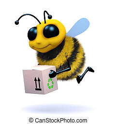 3d Honey bee delivers a box - 3d render of a honey bee...