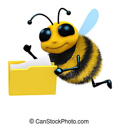 3d Bee with folder of files - 3d render of a honey bee with...