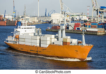 container ship in harbor