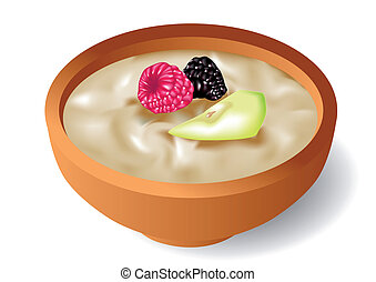 oatmeal - tasty oatmeal with berries, on white background
