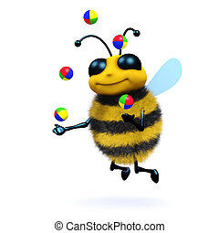 3d Juggling honey bee - 3d render of a honey bee juggling