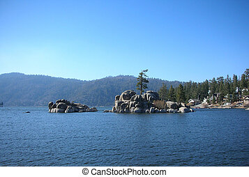 big bear lake, water, rocks and pine trees - big bear lake,...
