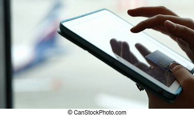 Online shopping or payment using touch pad - Close-up shot...