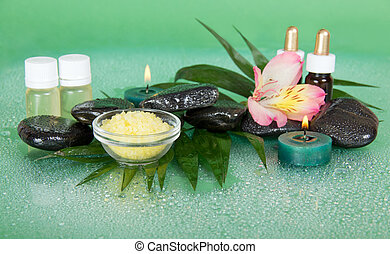 Set of oils, salt, candles, stones and flower - Set of...