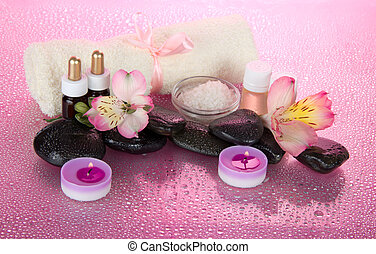 Set for an aromatherapy, candles and terry towel - Set for...