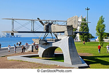 Monument of biplane in Belem, Lisbon, Portugal - LISBON,...