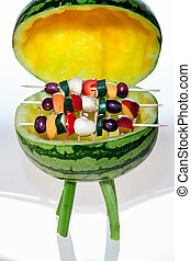 BBQ with fruit skewers - Grill watermelon with rust and...