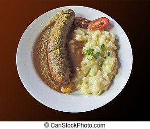 Curry wurst, typical Bavarian plate - Curry wust, Bavarian...