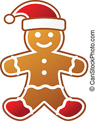 Christmas gingerbread in red hat for your design.