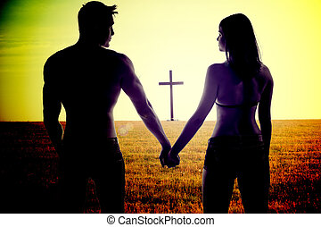 Romantic young couple holding hands - Atmospheric conceptual...