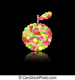 mela, silhouette, composto, frutte