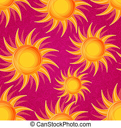 Shiny Sun on Pink Seamless Background - Shiny Glowing Orange...