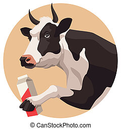 Cow and milk - Black and white cow and package of milk on...