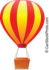 yellow red striped aerostat with box vector illustration