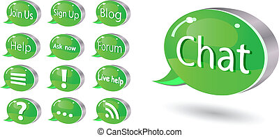 Icon set of chat, forum, blog, rss, help