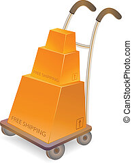 hand truck with stack of carton boxes