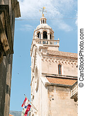 Historic Korcula - St Mark Cathedral in historic Korcula,...