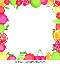 colorful vector fruits frame - apple orange cherry...