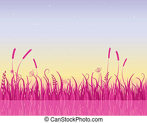 Misty Morning on Lake with Pink Grass Silhouette - Morning...