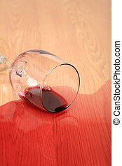 wine glass spilled - wine spilled on wood - red wine glass...