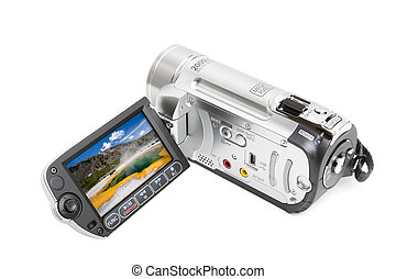 camcorder with yellowstone landscape in opened LCD screen