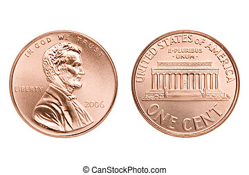 penny macro isolated - penny macro both sides, one American...