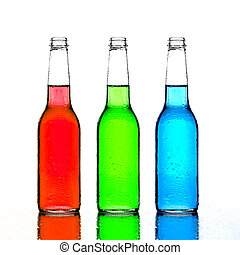 bottles red green and blue with reflection isolated on white...