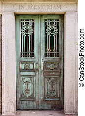 Mausoleum door - Mausoleum, grave, cemetery, door, metal,...