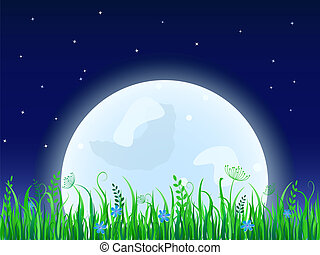Huge moon with grass meadow Night Vector illustration